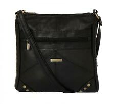 Ladies Real Leather Cross Body Bag Black Shoulder Bag Zipped Fastening