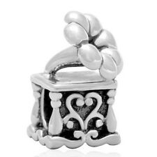 Gramophone Record Player Charm Bead 925 Sterling Silver