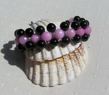 "Black Onyx & Pink Morganite Crystal Gemstone Woven Beaded Bracelet ""Hathor"""