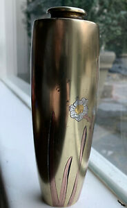 Signed Antique Japanese Heavy Mixed Metal Silver Copper Inlay Brass Vase