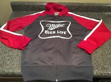 Miller High Life Hoodie Zipper Sweater Size Small Two Front Pockets Polyester
