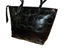 Coach Signature Stripe Stitched Patent Leather Tote Handbag Purse Black #F19198