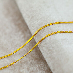 Authentic 999 Solid 24K Yellow Gold Necklace / Perfect Curb Link Chain Necklace