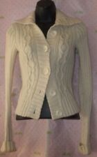 $75 HOLLISTER small CROCHET button cardigan sweater LAMBS WOOL RABBIT HAIR top