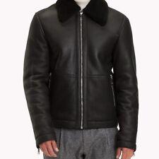 TOMMY HILFIGER Mens Shearling Leather Bomber Jacket