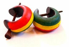 Boucles d'oreilles Créoles Piercing Bois Wooden Earrings Rasta Reggae Bob Marley