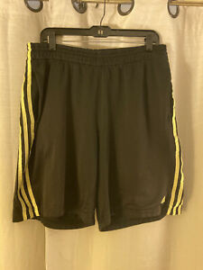 Adidas Active Performance Shorts Mens Black Yellow Striped Loose Fit Large L