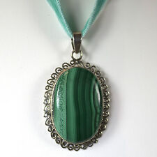 Sterling Silver Malachite Pendant