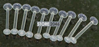 "10 Pc 14g 5/8"" All Clear Tongue Rings Tongue Retainers W/ Clear O Rings No Metal"