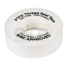 PTFE White Plumbers Tape 12mm x 12m Roll Teflon Thread Seal Tape BS7786