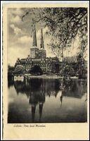 LÜBECK um 1920/30 AK Spiegelbild Postkarte mit Dom, Kirche und Museum ungelaufen