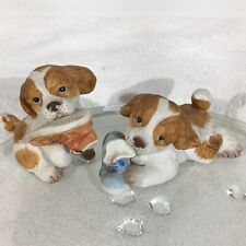 Vintage Homco Set of 2 Spaniel Dogs Chewing on a Shoe Figurines