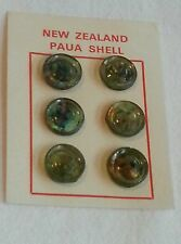 NZ New Zealand Paua Shell Sewing Buttons x6 Round Green Kiwiana Kiwi Craft 14mm