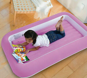 Single Flocked Inflatable Childs Air Bed Blow Up Pink Girls Kids Safe Bumper