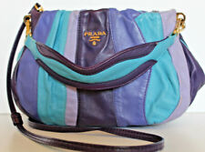 PRADA~NAPPA Tremmbled Blossom Stripe Leather MESSENGER Crossbody purple blue