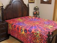 Red Yellow Peacock Tail Fan Cotton Bedding Indian Wall Tapestry Bed Sheet ~ Full