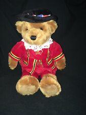 "Harrods Knightsbridge Beefeater Teddy Bear 15"" Plush London Royal Guard Sitting"