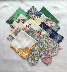 Lot of 12 Vintage Ladies Handkerchiefs Nice Summer Shades PAYPAL ONLY USA ONLY