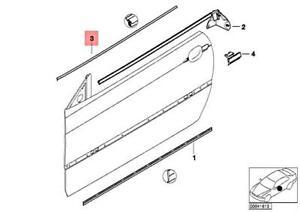 For BMW Genuine Door Window Belt Weatherstrip Front Left 51328227625