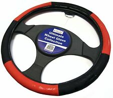 Red and Black Steering Wheel Cover Glove Protector For Car / Van Soft Grip