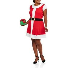 NEW WOMENS PLUS SIZE 3X MRS OR SANTA CLAUS RED & WHITE CHRISTMAS SWEATER DRESS