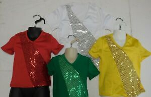 Dance Costume Faux Sequin V-Neck Pullover Shirt 5 Colors Child/Men Szs over 40