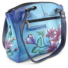 "Womens Anuschka Leather Hand Painted ""Flower"" Satchel Hobo Tote Shoulder Handbag"