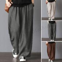 ZANZEA Womens Oversize Harem Pants Wide Legs Casual Pants Elastic Waist Trousers