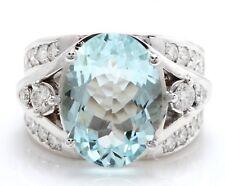 6.45 Carat Natural Blue Aquamarine and Diamonds 14K Solid White Gold Ring