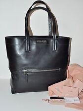 MIU MIU Vitello Soft Leather Shopping Tote Bag in Nero Black