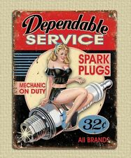 metal sign plaque vintage retro style Dependable service garage tin 20 x 15cm