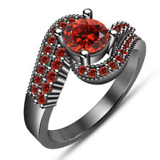 Wedding Bridal Ring 14K Black Gold Over 1.50 Ct Round Red Garnet Engagement And
