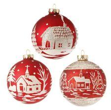 """Raz Imports~4"""" Red/White Glittered Scenic Ball Christmas Ornament ~Set of 3~Tree"""