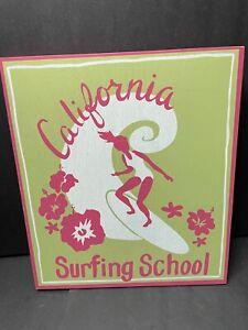 Pottery Barn Kids California SURF School PLAQUE Surfboard Art Wall Island Vibe