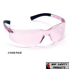 PINK LENS SIZE SMALL SAFETY GLASS WOMEN YOUTH PYRAMEX MINI ZTEK S2517SN (3 PAIR)