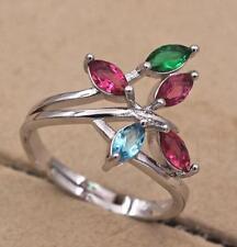 18K White Gold Filled Adjustable Opening Ring Ruby Topaz Emerald Leaf Engagement