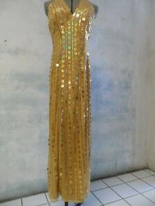 JASZ COUTURE square SEQUINS gold PROM evening DRESS sz 4