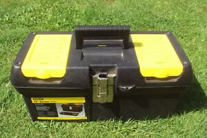 Stanley 16 inch series 2000 black & yellow tool box in good condition.