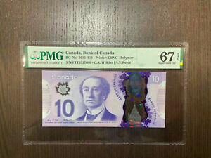 Canada Bank of Canada Bc-70c 2013 10$ Polymer PMG 67 EPQ