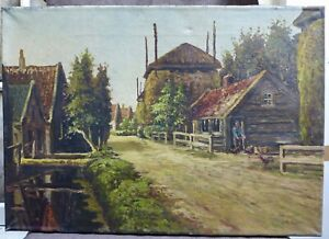 Nice painting of a rural village with a farm, signed by JNP v Hoppe