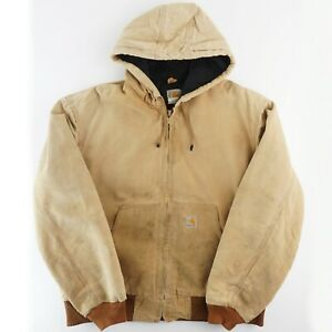 Mens Carhartt J140 Quilt Flannel Lined Duck Active Hooded Jacket - Brown Large