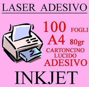 Carta Cartoncino A4 100 Fogli Bianco Adesivo Lucido 80 gr Stampante Laser Inkjet