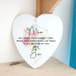 Personalised Mother of Bride Groom Heart Plaque Gift Stocking Filler Keepsake