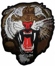 """Giant Angry Eye Of The Tiger Roar Skull Big XL Embroidered Back Patch 12.5""""/33cm"""