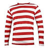 Adult Men's NYC Long Sleeve Punk Mime Halloween Cosplay Costume Striped Shirt