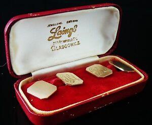Gents 9ct Gold Cufflinks in Case, Hallmarked London 1964,
