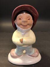 Vtg Dbl Flip Face Garden Gnome Troll Dwarf Art Pottery Statue Figure Hungary Htf