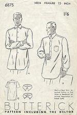 1940s Vintage Sewing Muster Größe 15 Herren Hemd (1267)