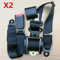 2xBlack Retractable 3 Point Car Safety Seat Belt Lap Shoulder Adujstable Harness