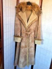 RIZAL FRANCE Real Shearling Womens Coat Belted Fur Collar Tan FRA 42 US 8-10 NWT